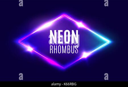 Night club neon light rhomb on brick texture  3d lozenge sign with