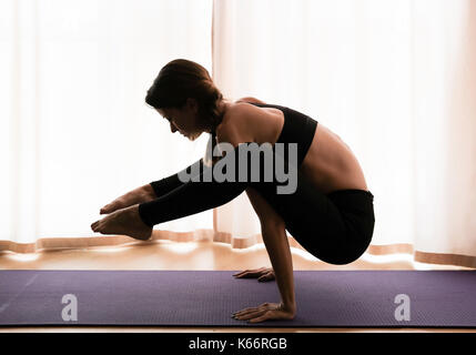 yoga pose woman handstand silhouette vector outline