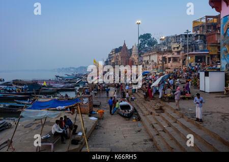VARANASI, INDIA - CIRCA NOVEMBER 2016: Dasaswamedh Ghat in the Ganges river early morning. The city of Varanasi - Stock Photo