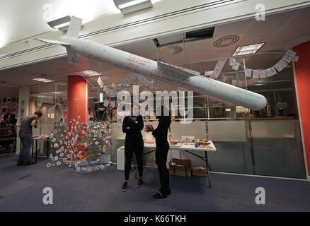 STANDALONE PHOTO A mock-up of a Tomahawk cruise missile on display at the Art the Arms Fair art exhibition - which - Stock Photo