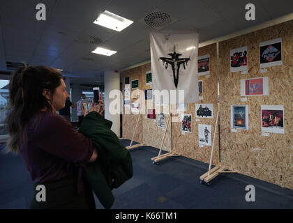 STANDALONE PHOTO Artworks on display at the Art the Arms Fair art exhibition - which has been set up in opposition - Stock Photo