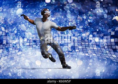 Man wearing virtual reality goggles dancing to music - Stock Photo