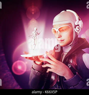 Woman watching cyborg in cell phone hologram - Stock Photo