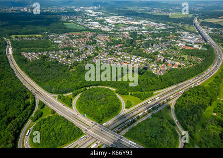 Autobahnkreuz Hagen, A45 motorway and A46 motorway, Kreuzhagen, Kleeblattkreuzung, Hagen, Ruhr area, North Rhine - Stock Photo