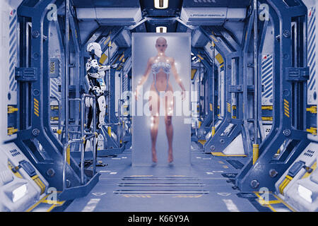 Robot watching woman in suspended animation - Stock Photo