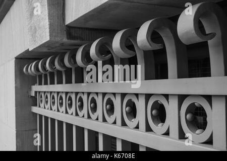 Decorative window grill on a building in Washington, DC. - Stock Photo