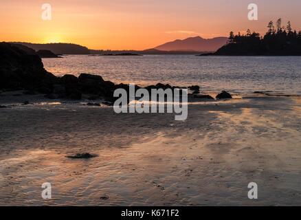Sunset on Mackenzie Beach, Tofino, Vancouver Island - Stock Photo