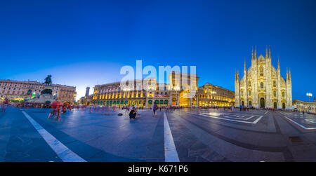 Milan Cathedral, Piazza del Duomo at night, Lombardia, Italy - Stock Photo