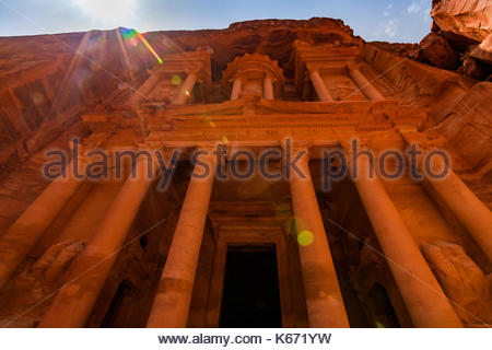 Al Khazneh - the treasury, ancient city of Petra, Jordan. - Stock Photo