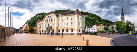 Old building of parliament in Vaduz, Liechtenstein. - Stock Photo