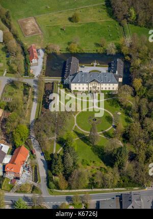 Castle Körtlinghausen, closed water Rüthen, Sauerland, North Rhine-Westphalia, Germany, Europe, Aerial View, Aerial, - Stock Photo