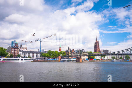 Summer panorama of the financial district with sky towers reflected on the river surface in Frankfurt am Main, Germany - Stock Photo