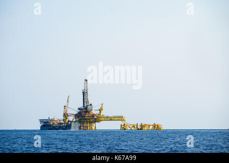 Offshore oil rig and tanker