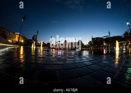 Bradford City Park and Mirror Pool, In Centenary Square. - Stock Photo
