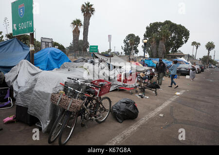 Homeless encampment on 17th Street in San Diego California - Stock Photo