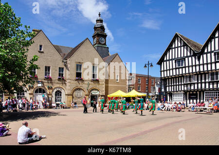 Morris dancing display, Market Square, Evesham, Worcestershire, England, United Kingdom - Stock Photo