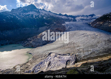Aerial view on the Rhône Glacier, the largest glacier in the Urner Alps - Stock Photo