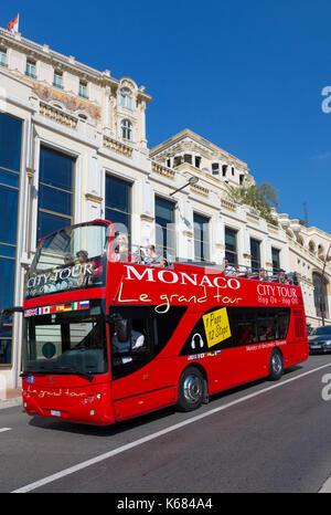 Sightseeing tour bus, Avenue d'Ostende, Monaco - Stock Photo