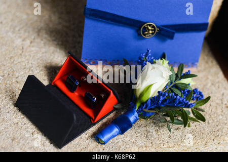 wedding jewelry lying on the couch - Stock Photo