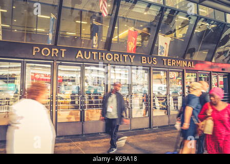 New York, USA - 28 September, 2016: Pedestrians outside the busy Port Authority Bus Terminal. - Stock Photo