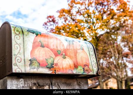 Fairfax, USA - November 24, 2016: Mailbox in autumn Virginia neighborhood with pumpkin decoration and golden foliage - Stock Photo