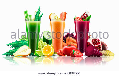 Three different smoothies amongst lots of fruit and vegetables - Stock Photo