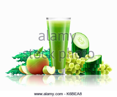 Glass of apple, kale, cucumber and grape smoothie - Stock Photo