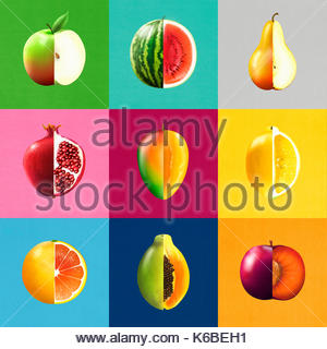 Montage of rows of bisected fruit showing cross sections - Stock Photo
