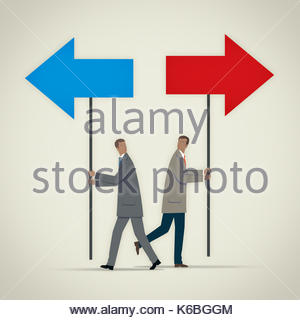 Businessman carrying blue arrow on pole pointing in opposite direction to man with red arrow - Stock Photo