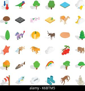 Jungle icons set. Isometric style of 36 jungle vector icons for web isolated on white background - Stock Photo