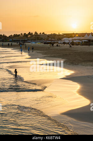 CAPE VERDE SAL Sunset at the beach in Santa Maria, Praia de Santa Maria, Baia de Santa Maria, Sal Island, Cape Verde, - Stock Photo