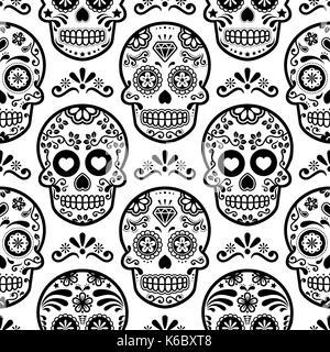 Mexican Sugar Skull Vector Seamless Pattern On Black Halloween