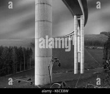 Autorailway construction valley bridge Nuttlar in black and white - Stock Photo