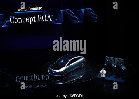 Frankfurt. 12th Sep, 2017. Photo taken on Sept. 12, 2017 shows a newly-unveiled Mercedes-Benz Concept EQA car on - Stock Photo