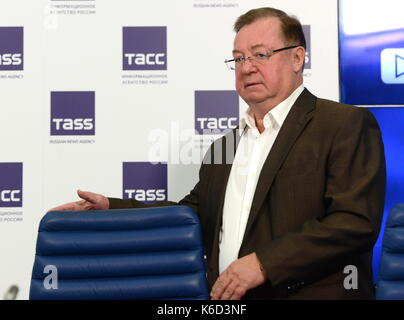 Moscow, Russia. 12th Sep, 2017. Russian Book Union President Sergei Stepashin arrives for a press conference ahead - Stock Photo
