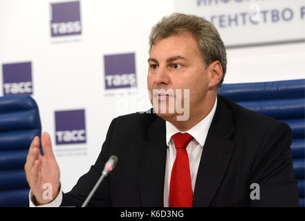 Moscow, Russia. 12th Sep, 2017. Russian Rome Organising Committee Chairman Vladimir Torin speaks at a press conference - Stock Photo