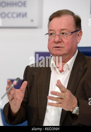 Moscow, Russia. 12th Sep, 2017. Russian Book Union President Sergei Stepashin speaks at a press conference ahead - Stock Photo