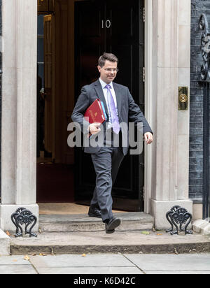 London, UK. 12th Sept, 2017. James Brokenshire NI Secretary leaves 10 Downing Street following a cabinet meeting - Stock Photo