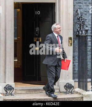 London, UK. 12th Sept, 2017. David Davis BREXIT Secretary leaves 10 Downing Street following a cabinet meeting Credit: - Stock Photo