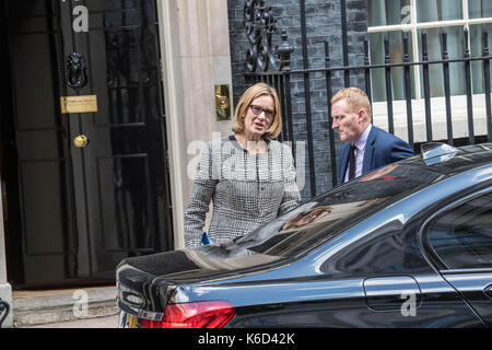London, UK. 12th Sept, 2017. Amber Rudd, Home Secretary leaves 10 Downing Street following a cabinet meeting Credit: - Stock Photo