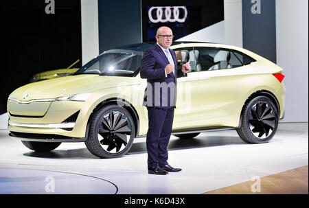 Frankfurt, Germany. 12th Sep, 2017. Skoda Auto CEO Bernhard Maier presented in European premiere electric SUV concept - Stock Photo