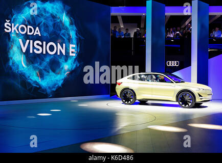 Frankfurt, Germany. 12th Sep, 2017. European premiere electric SUV concept car Skoda Vision E was presented during - Stock Photo
