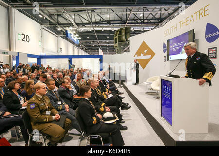 London, UK. 12th September, 2017. Admiral Sir Philip Jones, delivers speech at DSEI. The defence and security exhibition - Stock Photo
