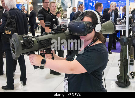 London, UK. 12th Sep, 2017. Defence and Security Equipment International (DSEI) arms fair held every two years in - Stock Photo
