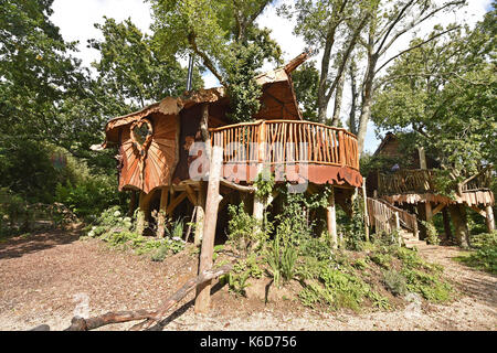 Ditchling Sussex, UK. 12th Sep, 2017. A new tree house has been unveiled at Blackberry Wood campsite near Ditchling - Stock Photo