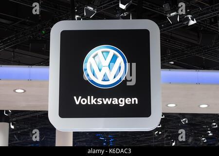 Frankfurt, Germany. 12th Sep, 2017. Germany, Frankfurt, September 12, 2017, 67th International Motorshow IAA: Volkswagen - Stock Photo