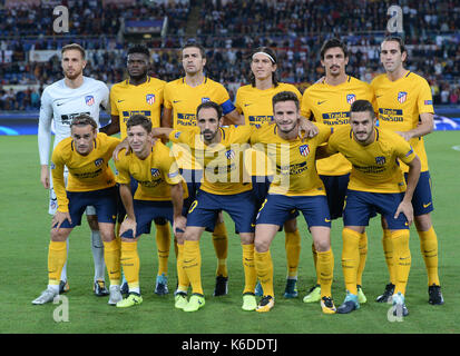 Rome, Italy. 12th Sep, 2017. Atletico Madrid's players line up before a UEFA Champions League group C soccer match - Stock Photo
