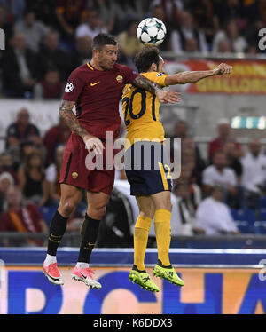 Rome, Italy. 12th Sep, 2017. Roma's Aleksander Kolarov (L) competes with Atletico Madrid's Juanfran during a UEFA - Stock Photo