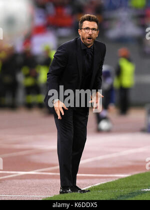 Rome, Italy. 12th Sep, 2017. Roma's head coach Eusebio Di Francesco gestures during a UEFA Champions League group - Stock Photo