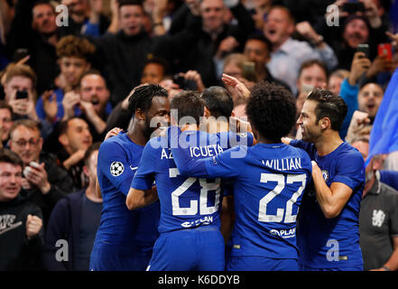 London, UK. 12th Sep, 2017. Players of Chelsea celebrate after scoring during the UEFA Champions League Group C - Stock Photo